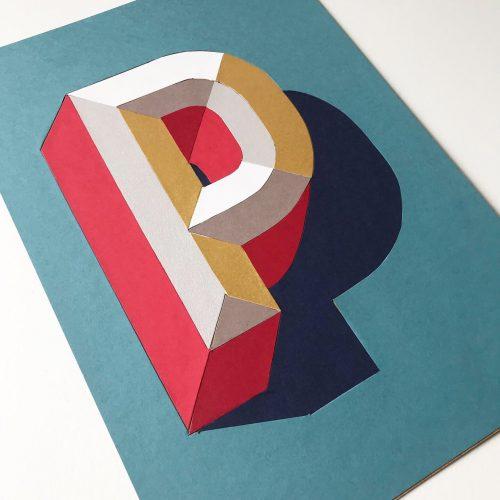 3D Papercut letter P
