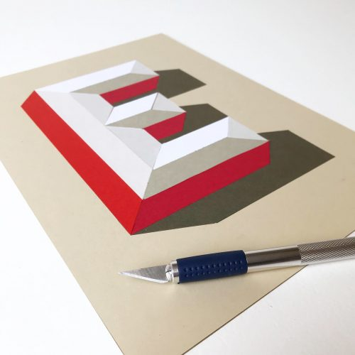 3D Papercut letter E