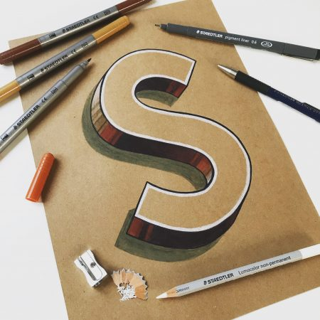 Vintage 3D Letter S by Bold Statements