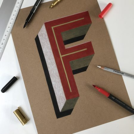 Vintage 3D Letter F by Bold Statements