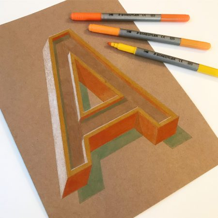 Vintage 3D Letter A by Bold Statements