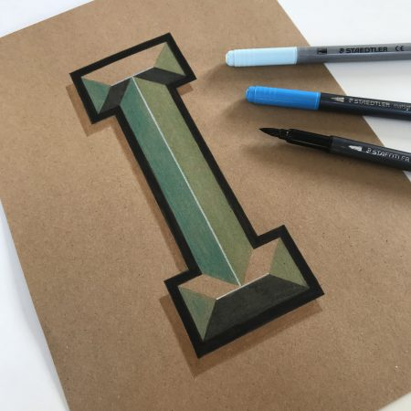 Vintage 3D Letter I by Bold Statements
