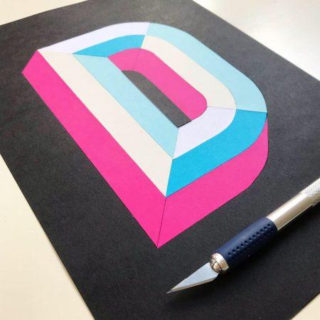 3D Papercut letter D